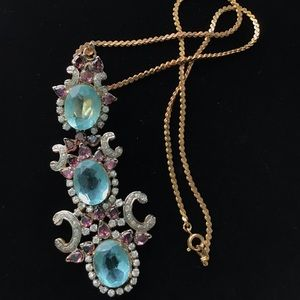 Gold Plate Pink Blue Crystal Chandelier Necklace